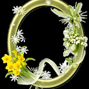 قاب گل بیضی سبز