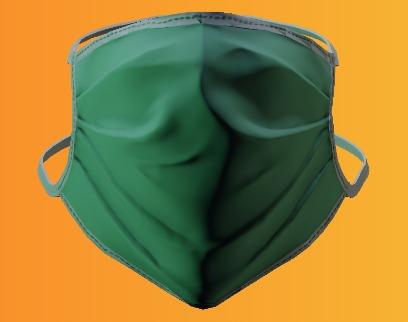 ماسک پزشکی سبز پر رنگ