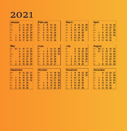 تقویم سال 2021 میلادی