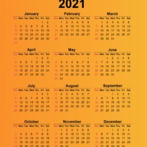 تقویم سال 2021 میلادی (ایستاده)